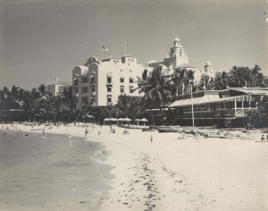 Famous Royal Hawaiian Hotel on Waikiki Beach, 1951.