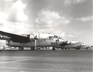 C-119 Flying Boxcars at Hickam Air Force Base, Hawaii, 1960s.