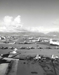 Hickam Air Force Base, Hawaii, flight line in 1960s during Vietnam War.