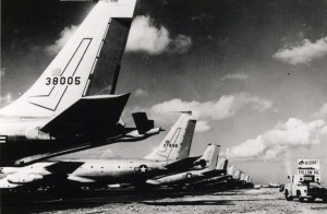 Boeing KC-135 jet tankers transiting Hickam Air Force Base, Hawaii, c1965.