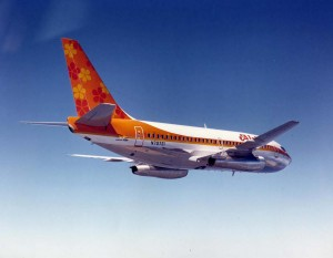 Aloha Airlines Boeing 737 above Honolulu International Airport, 1969.