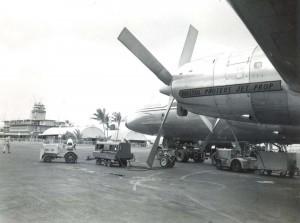Ansett-ANA Prop Jet Electra at Honolulu International Airport, 1960.