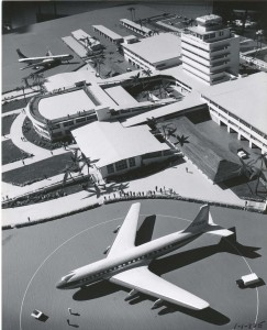 Artist's drawing of new Honolulu International Airport, 1960.