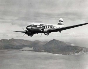 Hawaiian Airlines flies over Koko Head, 1962.