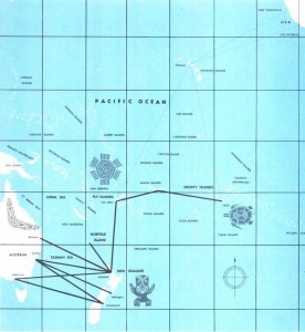 TEAL South Pacific Air Routes 1962.