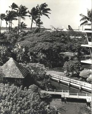 Cultural gardens at Honolulu International Airport, March 1964.
