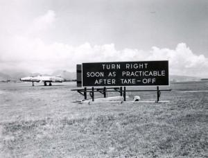Runway signs at Honolulu International Airport, 1966.