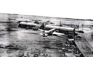 Old quonset huts at Honolulu International Airport, 1963.