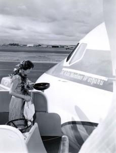 Dedication of United Airlines DC-8 Jet Mainliner Waipahu at Honolulu International Airport, 1960.