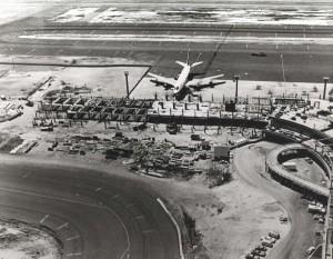 Construction of the Diamond Head Concourse, Honolulu International Airport, 1974.