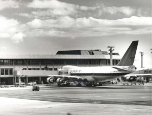 Northwest Orient at Diamond Head Concourse, Honolulu International Airport, 1977.