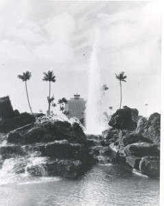 Fountain at Honolulu International Airport, 1970s.