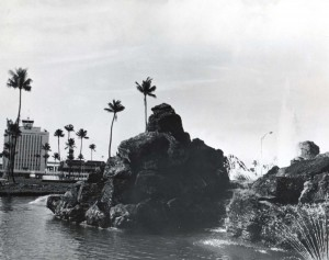 Fountain on entry road to Honolulu International Airport, 1970s.