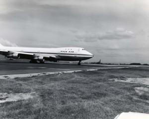Pan American Airways plane at Honolulu International Airport, 1970s.