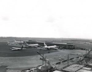 Planes at Ewa Concourse, Honolulu International Airport, 1970s.
