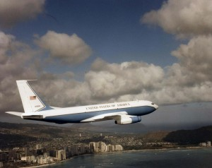 C-135 flies over Waikiki, 1970s