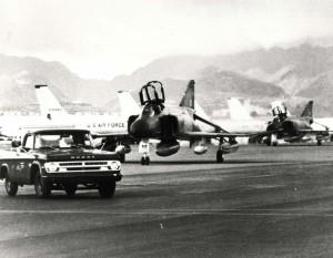 AS the fighting in Southeast Asia ceased, many of the aircraft used there stopped at Hickam Air Force Base en route back to the U.S. Mainland. In this photo are some of the 20 F-4 Phantoms parked in front of 15 KC-135 Stratotankers that transited Hickam in August 1974.