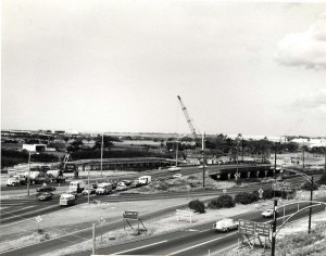 Construction of Keehi Interchange, adjacent to Honolulu International Airport, 1975.