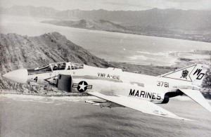 F-45 Phantom jet over Kaneohe Bay, 1973-1973.