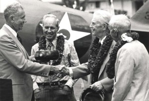 Celebrating 50 years of Hawaii aviation at Wheeler Air Force Base, Hawaii, are Rear Adm. E. Alvey Wright, Hawaii DOT Director; Emory Bronte, pilot, first Trans-Pacific flight, 1927; Col. Charles H. Dolan, last living pilot of the Lafayette Escadrille; and Martin Jensen, winning pilot of the Dole Derby, 1927.