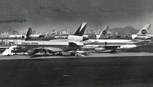 Philippine Airlines and Continental Airlines at Honolulu International Airport, 1980s.