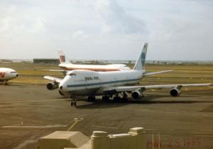 Pan American Airways taxiing at Honolulu International Airport, 1985.