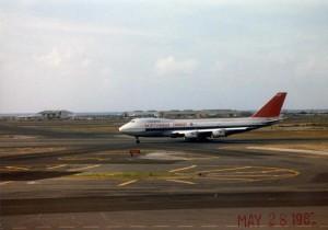Northwest Orient Airlines landing at Honolulu International Airport, 1985.