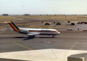 Mid-Pacific Air lands at Honolulu International Airport, 1985.