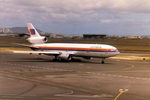 United Airlines at Honolulu International Airport, 1986.