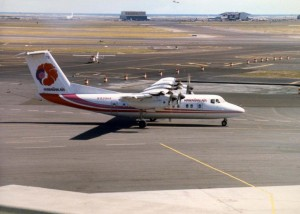 Hawaiian Airlines lands at Honolulu International Airport, July 28, 1986.