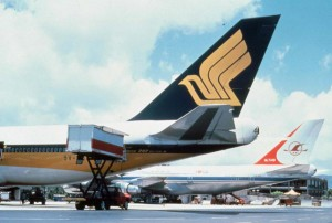 747s line up at Honolulu International Airport, 1987.