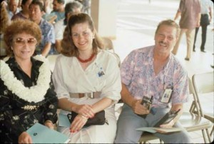 Dedication of Commuter Terminal, Honolulu International Airport, June 1988. From left: Nona Akana, secretary to the Airports Administrator; Jeanne Schultz, Deputy Director for Airports, HDOT; and Ben Kosa.