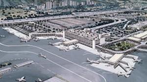 Architect's drawing of new Interisland Terminal Complex, Honolulu International Airport, 1987.