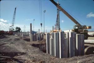 Construction of new Interisland Terminal, Honolulu International Airport, December 1989.