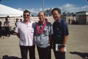Groundbreaking for new Interisland Terminal, Honolulu International Airport, November 22, 1989. Unknown, DOT Director Edward Y. Hirata, and Airports Division Engineer Ernest Kurosawa.