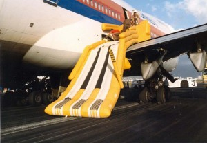 United Air Lines emergency exit chute, Honolulu International Airport, November 16, 1984.
