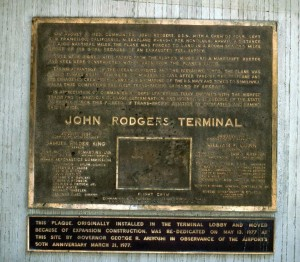 Dedication plaque, John Rodgers Terminal, Honolulu International Airport, 1987.