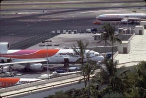 Hawaiian Airlines at Honolulu International Airport, October 1987.
