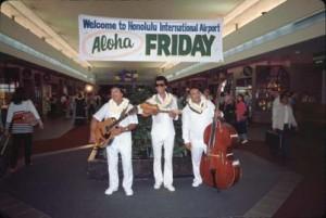 Aloha Friday entertainment, Honolulu International Airport, 1989.