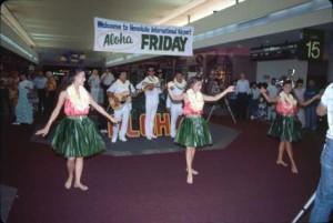 Aloha Friday entertainment at Honolulu International Airport, 1989.