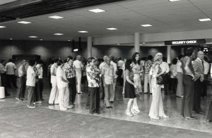 Passengers wait for security check, Honolulu International Airport, 1980.