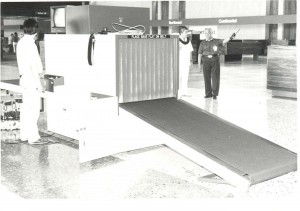 Baggage screening machine, Honolulu International Airport, 1980s.