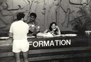 Visitor Information Program desk, Honolulu International Airport, 1980s.