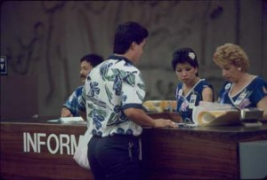 Visitor Information Program staff, Honolulu International Airport, 1987.