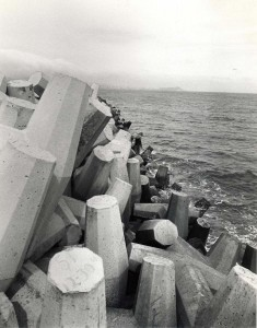 Support pylons for the Reef Runway, Honolulu International Airport, 1980s.