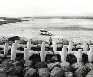 Concrete pylons on the Reef Runway, Honolulu International Airport, 1980s