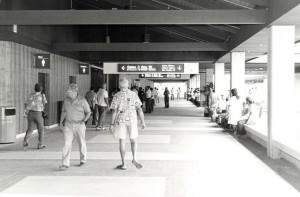 Walkway to holding rooms, Lihue Airport, Kauai, February 1987.