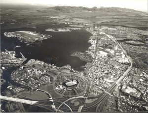 Ford Island in Pearl Harbor, with Aloha Stadium in foreground, February 7, 1980.