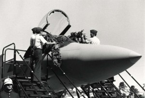 The first two of 26 F-15 Eagles for the Hawaii Air National Guard arrive at the 154th Composite Group Hangar at Hickam Air Force Base Hawaii and were draped with maile lei, March 11, 1987.