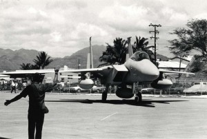 The first two of 26 F-15 Eagles for the Hawaii Air National Guard arrive at the 154th Composite Group Hangar, Hickam Air Force Base, and were draped with maile lei, March 11, 1987.